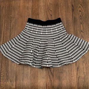 Black and white flare circle skater skirt